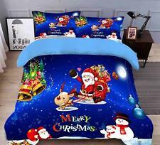 3D Santa Schneemann M685 Weihnachten Steppdecke Bettbezug Christmas Bett Fay