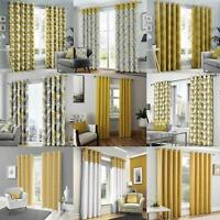 Mustard Eyelet Curtain Pairs Yellow Ochre Ring Top Lined Ready Made Curtains