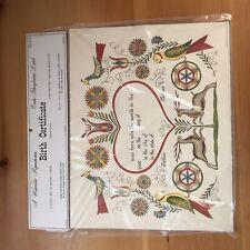 Reproduction Pennsylvania Dutch Birth Certificate  1967 Vintage