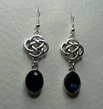 ROUND CELTIC KNOT DARK SILVER PLATED EARRINGS FACETED BLUE GLASS CRYSTAL OVAL