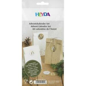 Heyda White & Natural Flat Bottomed Paper Gift Bags & Advent Numbers 48pcs