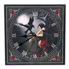 Wanduhr Bilderuhr Uhr Bild Deko - Dunkler Engel mit Rabe