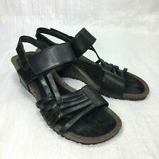 Teva Black Leather Cross Strappy Open Toe Womens Cork Heel Wedge Sandals Sz 9.5