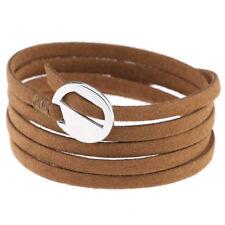 Fashion Women Lady Leather Wrap Cuff Bracelet Multi Layer Punk Wristband Jewelry