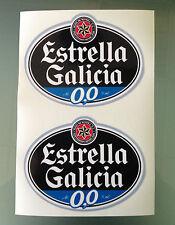 "Estrella Galicia Sponsor Decals / Stickers (PAIR) 5"" X 4"""