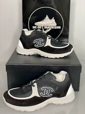 Mens Chanel CC Runners Trainers Sneakers Black/white/ Suede UK11 EU45