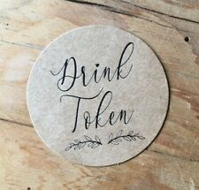 25 FREE DRINK TOKENS - WEDDING GUEST VINTAGE RETRO FAVOUR PARTY BROWN KRAFT