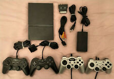 Sony Playstation 2 PS2 Konsole (PAL) schwarz, 4 Controller, Kabel (SCPH-77004)