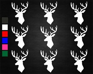 9 x DEER STAG HEAD WINE GLASS/JAR DECAL STICKERS PARTY DECORATION WALL/PHONE
