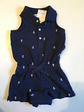 NWT Ralph Lauren Baby Girl Polo Pony Anchor Blue White Shorts One Piece 3 Mos