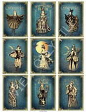 9 Victorian Gothic Witches Halloween Hang Tags Scrapbooking Paper Crafts (308)