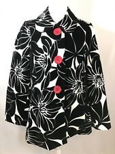 3 Sisters Women Jacket Black White Floral Coat Small Boutique Swing Peacoat Fall