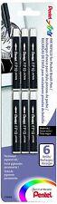 PENTEL Ink Refills for Pocket Brush Pen Black Ink 6 Pack