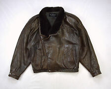 MARC BUCHANAN TANNERY WEST Vtg Marbled Brown Leather Beaver Fur Bomber 42 Mens L