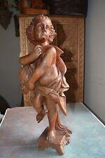 Vintage Hand Carved Wood  Cherub Angel Archangel