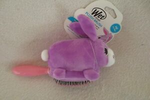 Girl Wet Brush Plush Purple Rabbit  Friendly Grip 7in New
