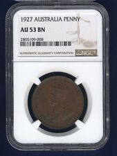AUSTRALIA GEORGE V 1927 1 PENNY COIN, ALMOST UNCIRCULATED CERTIFIED NGC AU-53-BN