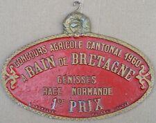 More details for french farm show metal plaque 1st prize heifer 1960 bain de bretagne brittany