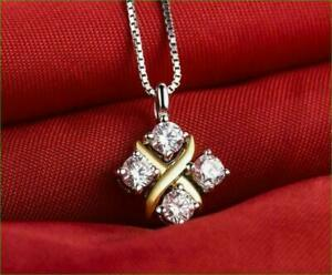 "1 Ct Round Cut VVS1 Diamond Pendant 18"" Free Chain 14k  Two-Tone Gold Finish"