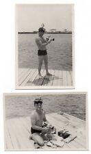 PHOTO Caméra Appareil vidéo photographié Autoportrait Plongeur 1960 Masque