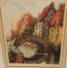 MARKO AMSTERDAM BRIDGE SCENE SMALL HAND SIGNED ETCHING