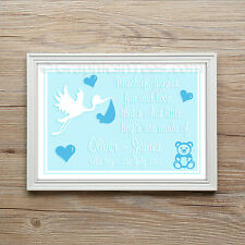 Personalised New Born Baby Boy Christening Gift Keep sake Present A4 Print
