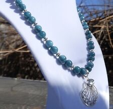 """18"""" Blue Mother of Pearl Necklace with Sterling Silver Moonstone Pendant"""