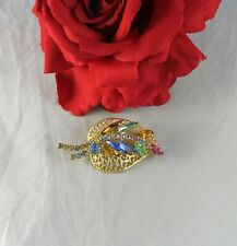 Vintage Pastel  Rhinestone Gold tone Leaf   Pin Brooch CAT RESCUE