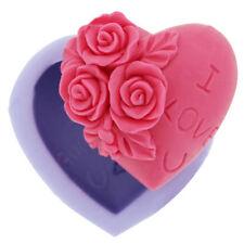I LOVE YOU Loving Heart Flower Shape Silicone Fondant Cake Mould Chocolate Molds