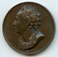 France Medal by Domard Denis Diderot French Philosopher ORIGINAL !! 41mm