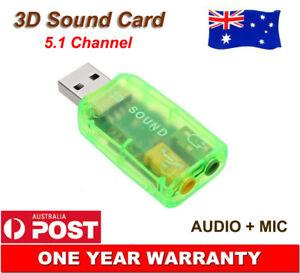 USB 5.1 Virtual Audio MIC Headphone Speak Stereo Sound Card Adapter Dongle