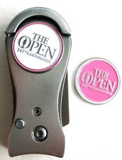 2018 BRITISH OPEN, CARMOUSTIE, 2-SIDED, WHITE/PINK, Ball Marker & DIVOT TOOL