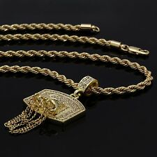 "Gold Plated Basketball BACKBOARD Cz Pendant Hip-Hop Chain 24"" Inch Rope Necklace"