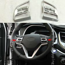 2x Chrome Steering Wheel Frame Decorator Cover Trim For Hyundai Tucson 2016-2017