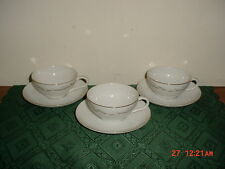 """7-PIECE KAYSONS """"GOLDEN FANTASY"""" COFFEE CUPS & SAUCERS/WHITE-SILVER/FREE SHIP!"""
