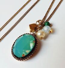 lange Kette Halskette Vintage Perlen Strass Herz Glas antik vergoldet grün 80 cm