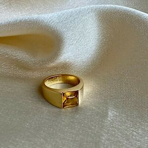 Cartier Tank 1997 Ring in 18k Yellow Gold and Citrine