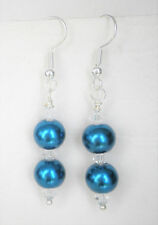 Teal blue two 8mm glass pearls and clear bead earrings Approx. 5cm drop