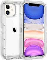 For IPhone 11 6.1 Heavy Duty Tough Military Grade Clear Case fit Otterbox Clip