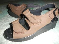 FLY FLOT Brown LEATHER STRAP SANDAL Anatomic Foot Bed ITALIAN COMFORT 4M  35 EU