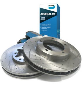 SLOTTED DIMPLED Front 320mm BRAKE ROTORS BENDIX PADS D2962S x2 MAZDA3 MPS 06~14