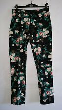 WAREHOUSE Black Mix Floral Rose Print Tapered Jeggings Style Trousers UK Size 12