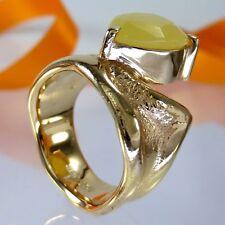 A698 Unikat Schmuck Yellow Opal Vollopal Ring 925 Silber Gold vergol. Handarbeit