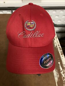 NEW LICENSED GM CADILLAC EMBROIDERED RED FITTED SZ L-XL BASEBALL CAP HAT Flexfit