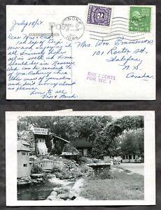 3447- MONONA Iowa Cancel 1951 on Anoka Real Photo Postcard to Canada POSTAGE DUE