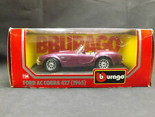 Burago 1:24 1965 Ford Ac Cobra 427 Classic American Muscle Car Replica