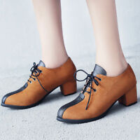 Women Vintage Brogues Classic Oxford Lace Up Suede Block High Heels Casual Shoes