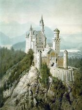 "Large Framed Print - Painting ""Schloss Neuschwanstein"" by Adolf Hitler (Replica)"