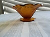 Vintage Indiana Tiara Amber Sandwich Glass Vase Bowl/ Candy Dish Footed Bowl