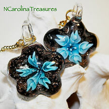 GLASS CEILING FAN CHAIN SWITCH PULL BLACK GLITTER AQUA FLORAL STAR LARGE PAIR